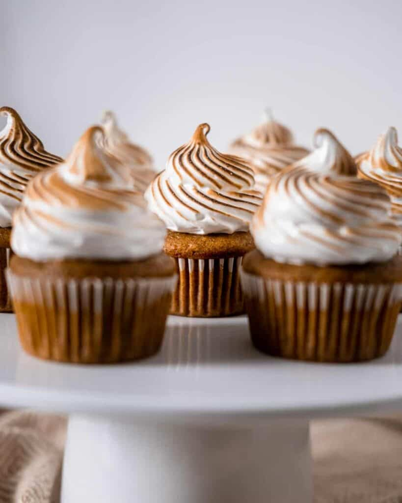 Sweet potato cupcakes with toasted meringue frosting