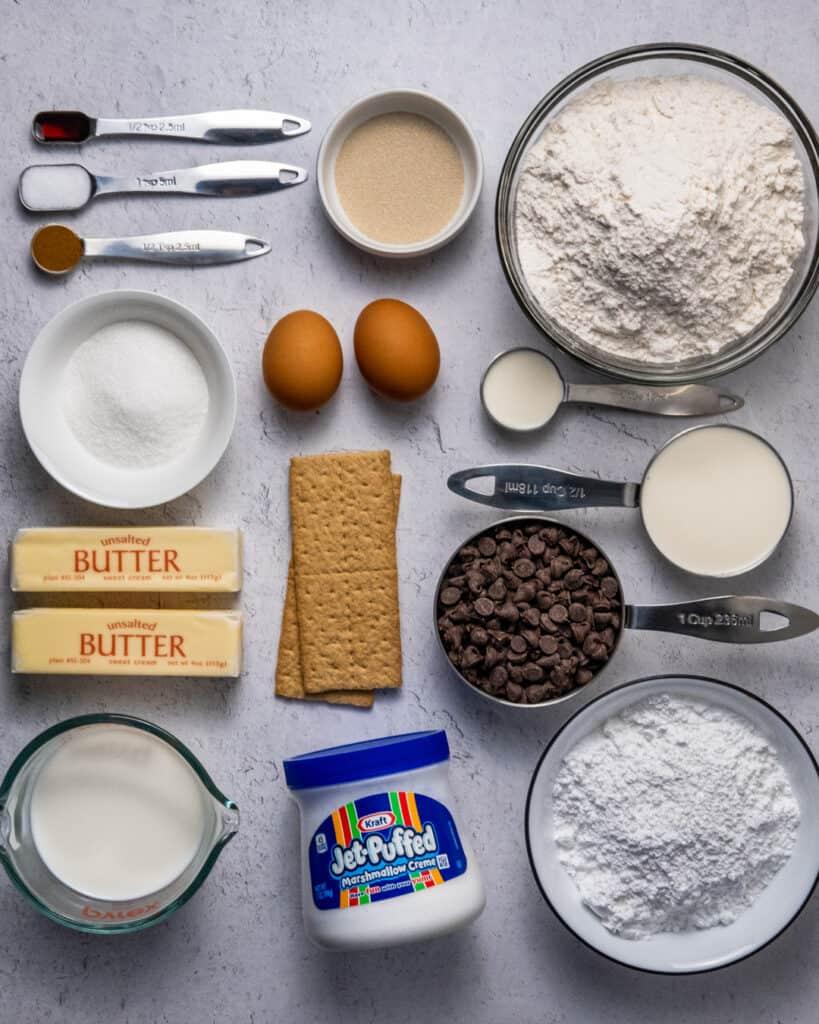 Smores donut ingredients