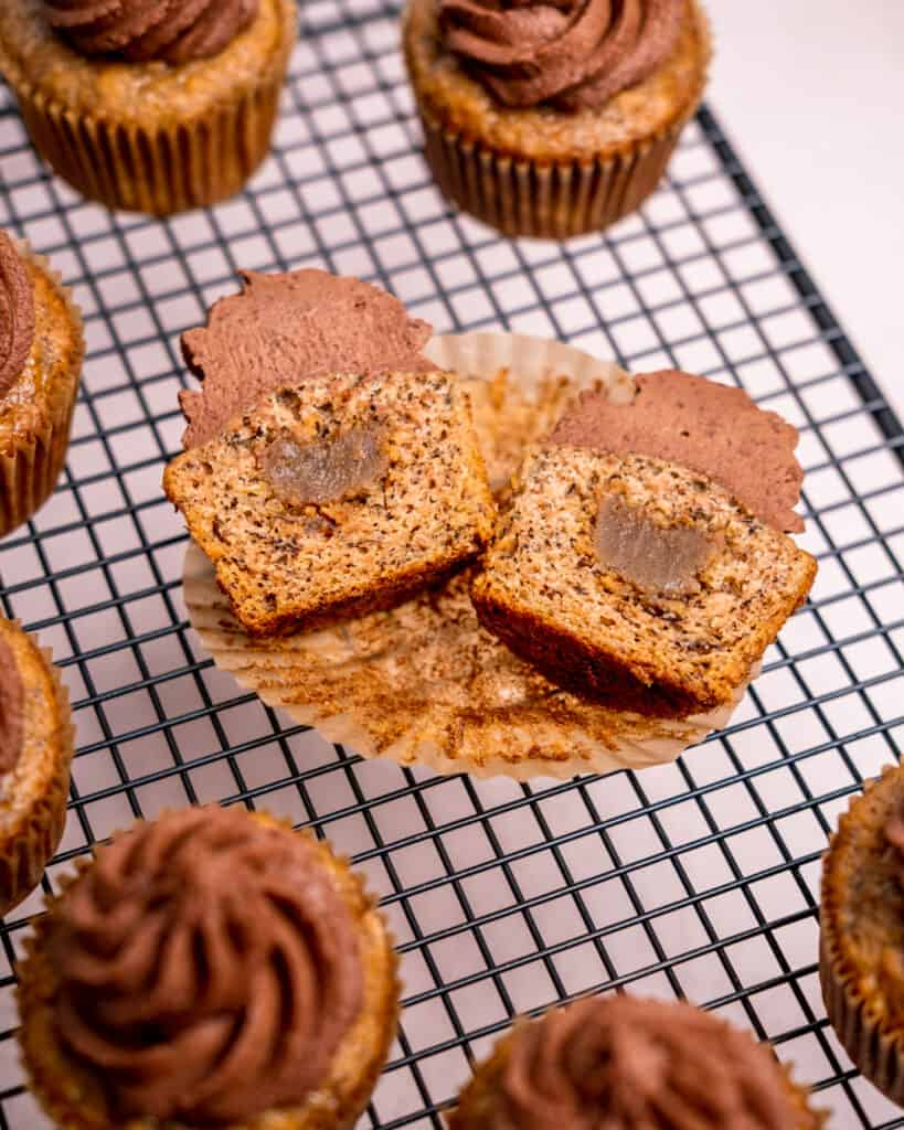 Toffee filled banana cupcakes