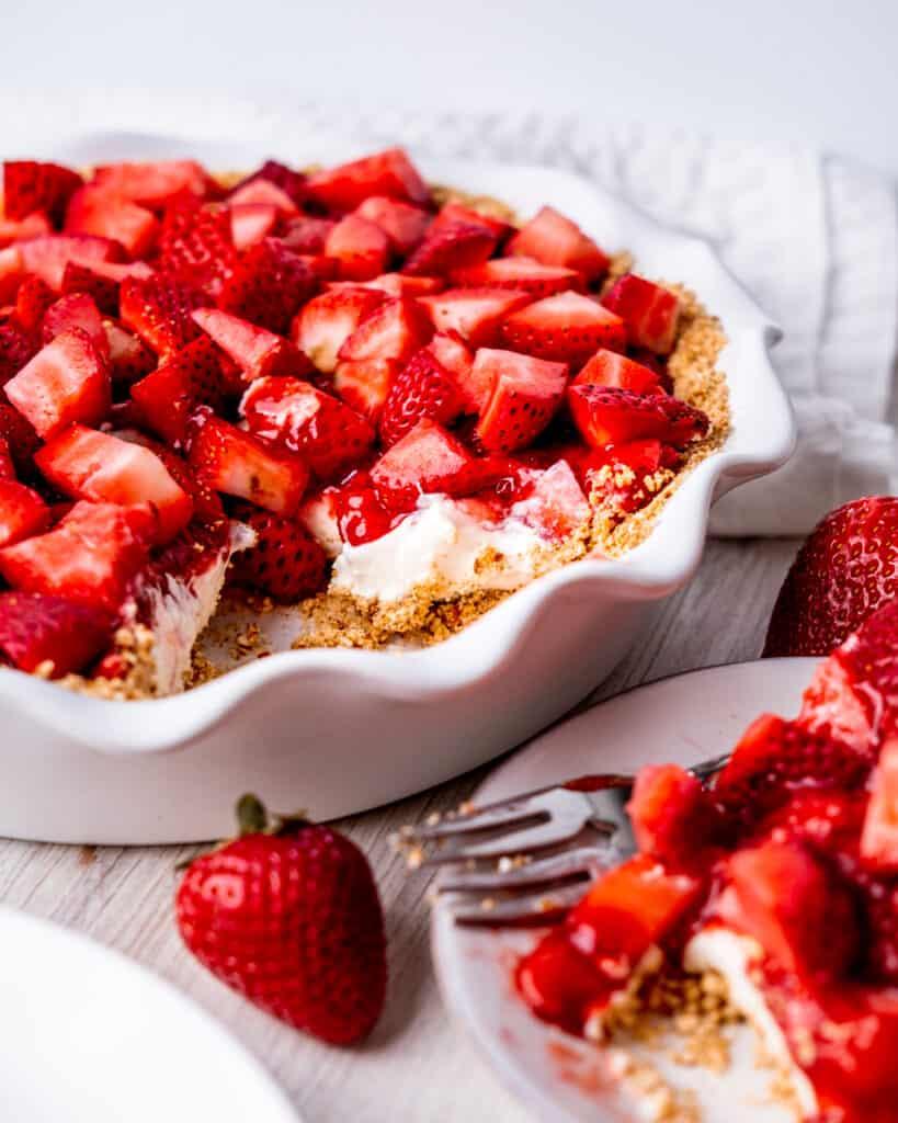 Inside view of strawberry cream cheese pie