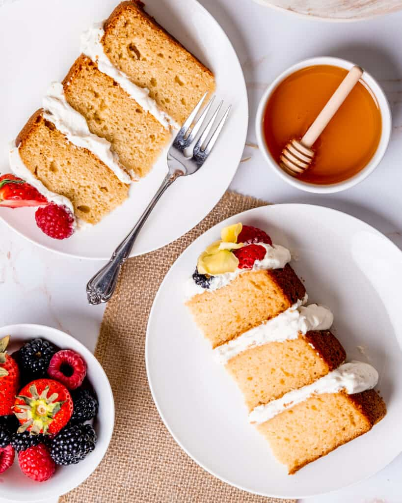 top view of two slices of the layered honey cake