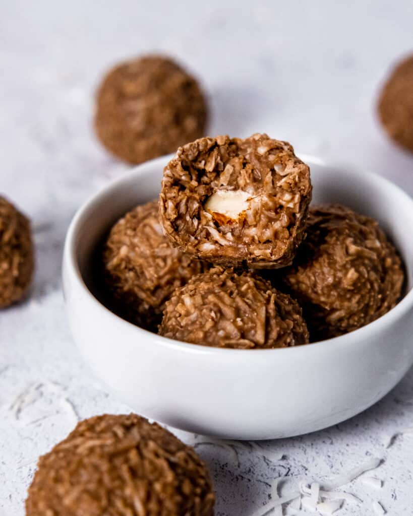 chocolate coconut balls with almond