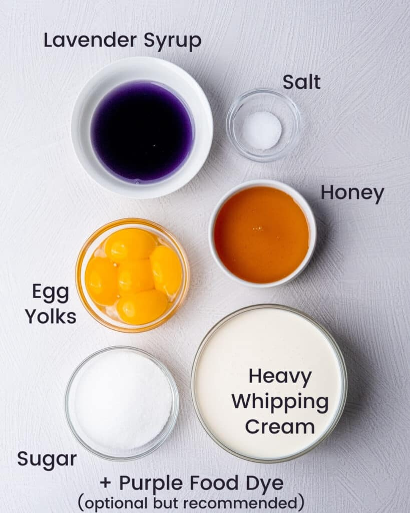 Lavender honey ice cream ingredients laid out on the counter and labeled