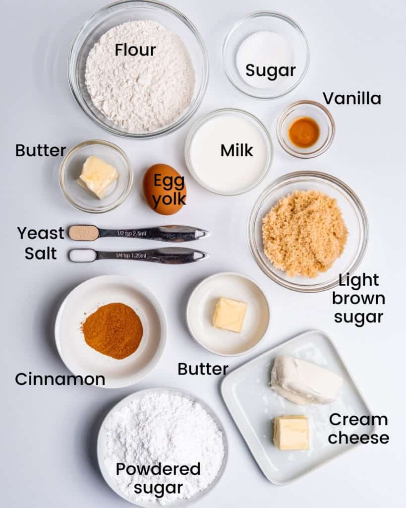 Ingredients for this recipe laid out on a white background and labeled