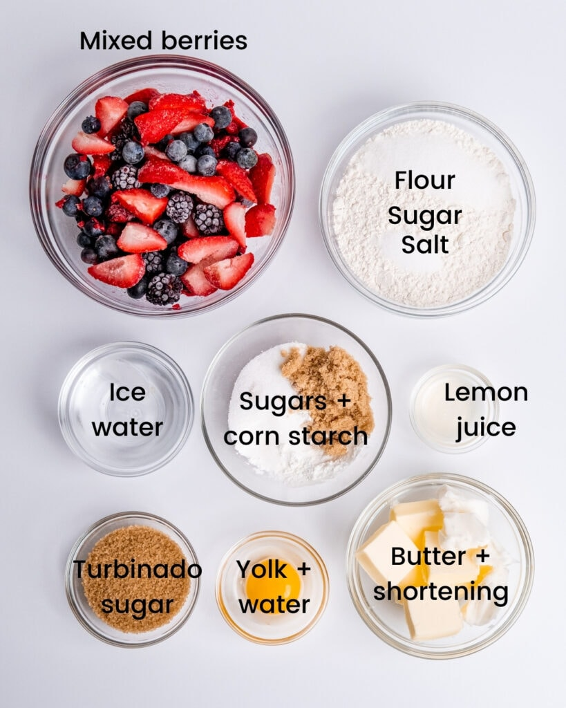 Galette ingredients laid out and labeled on a white background