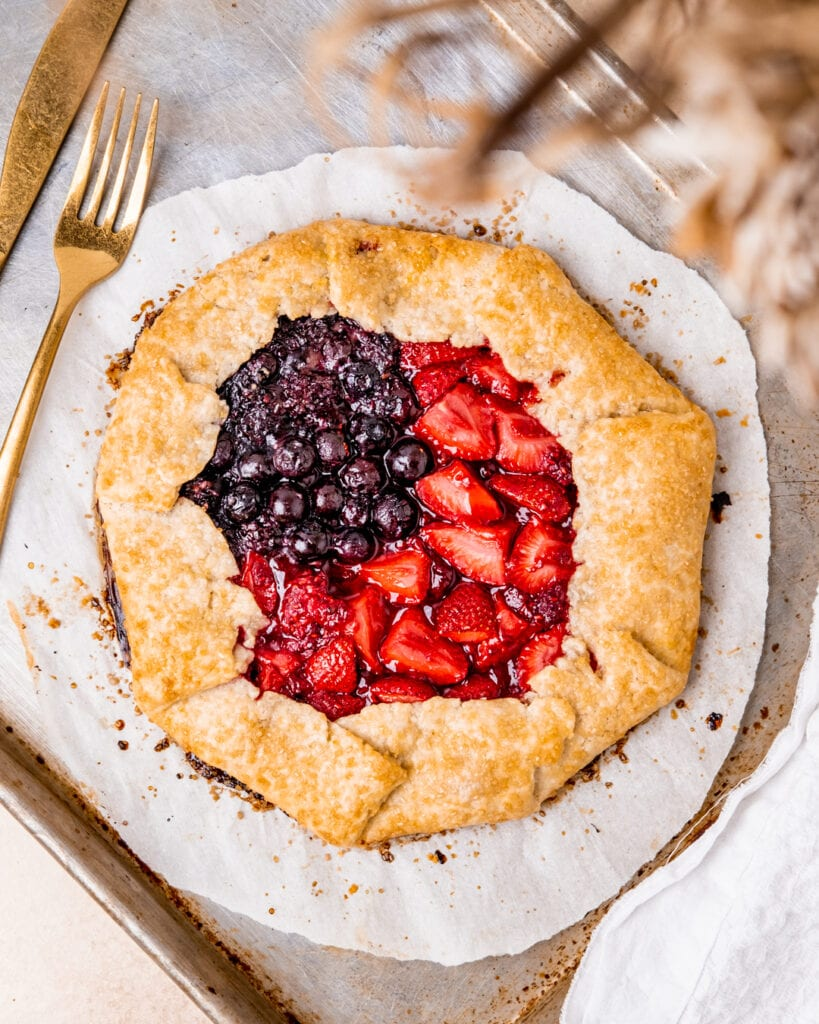 Mixed Berry Galette with the fruit separated to create an American Flag design