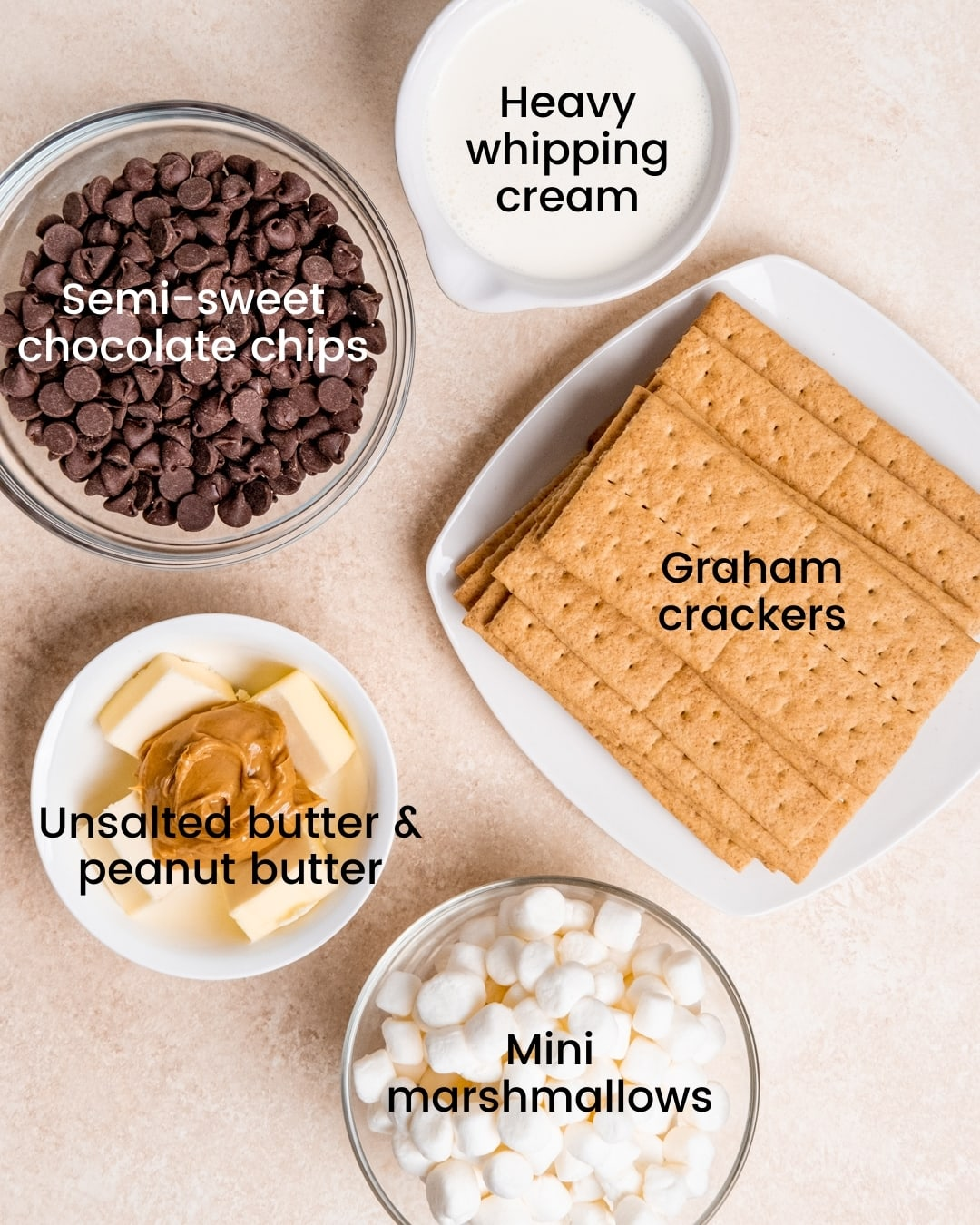 Mini peanut butter s'mores tart ingredients laid out and labeled