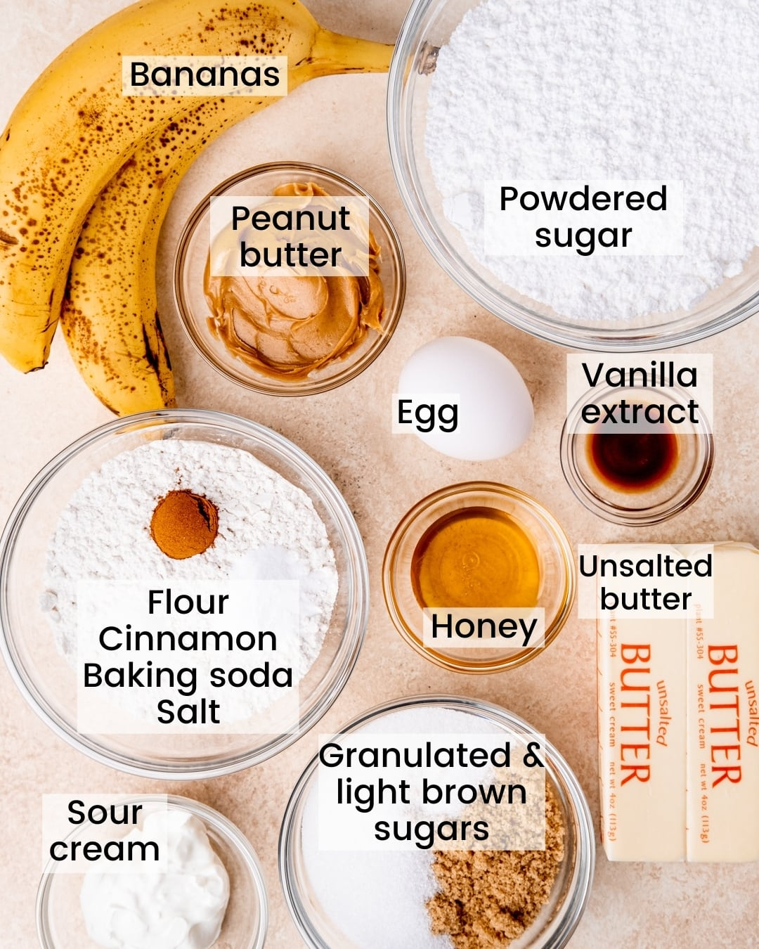 Banana snack cake and peanut butter honey frosting ingredients labeled
