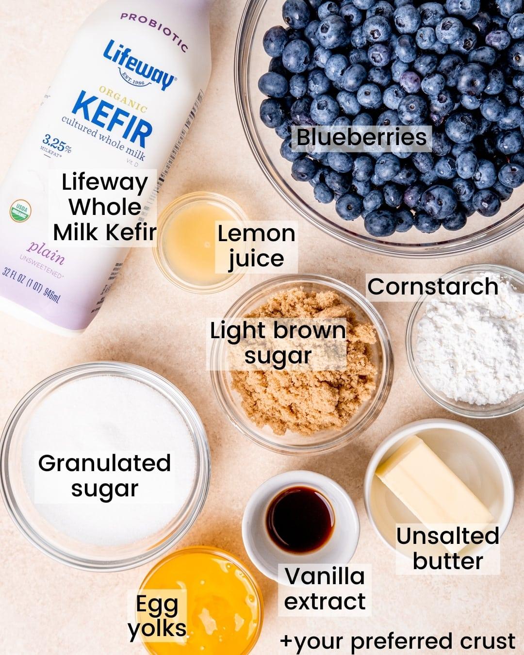 Ingredients for blueberry cream pie jars