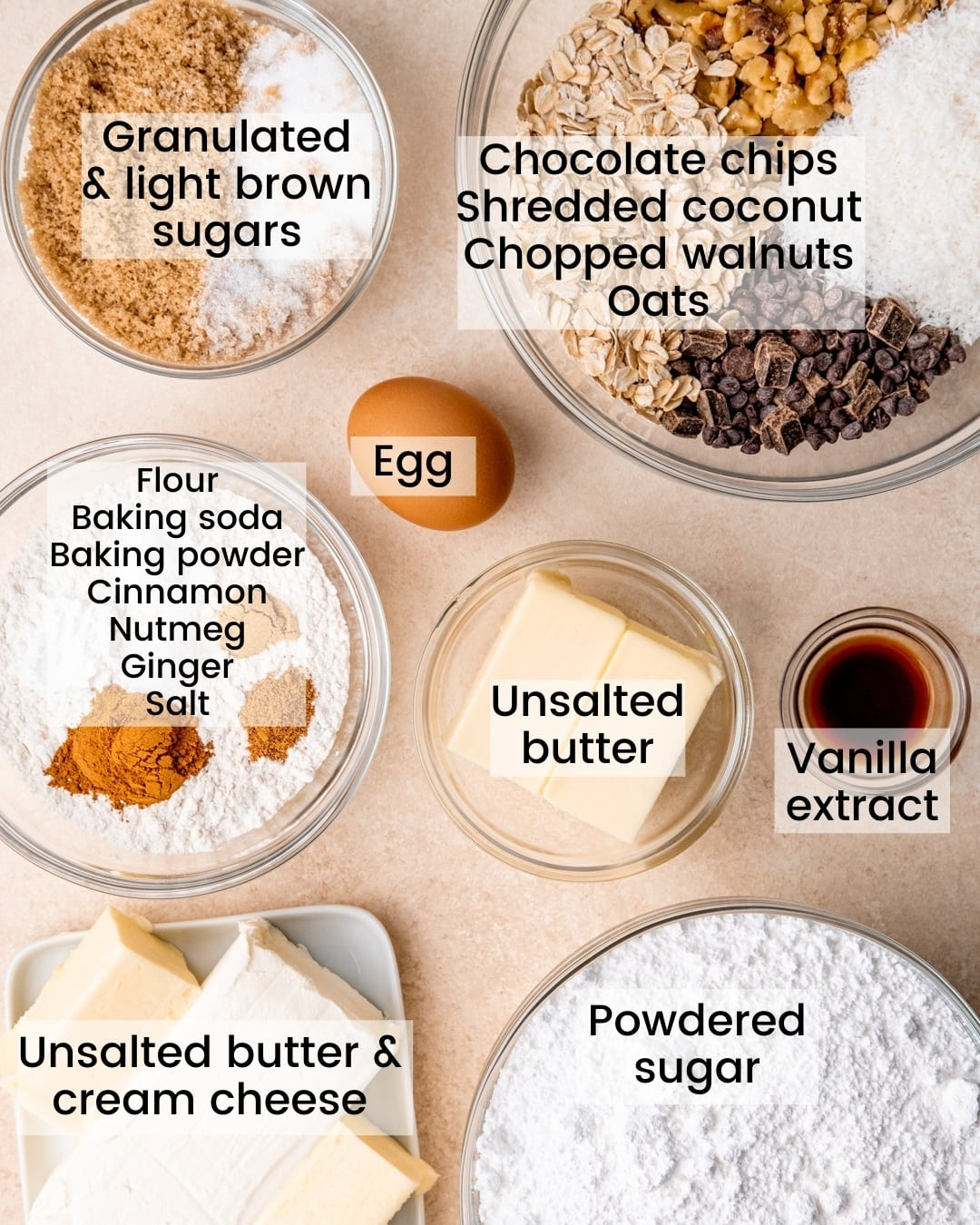 cowboy cookie cake ingredients laid out and labeled