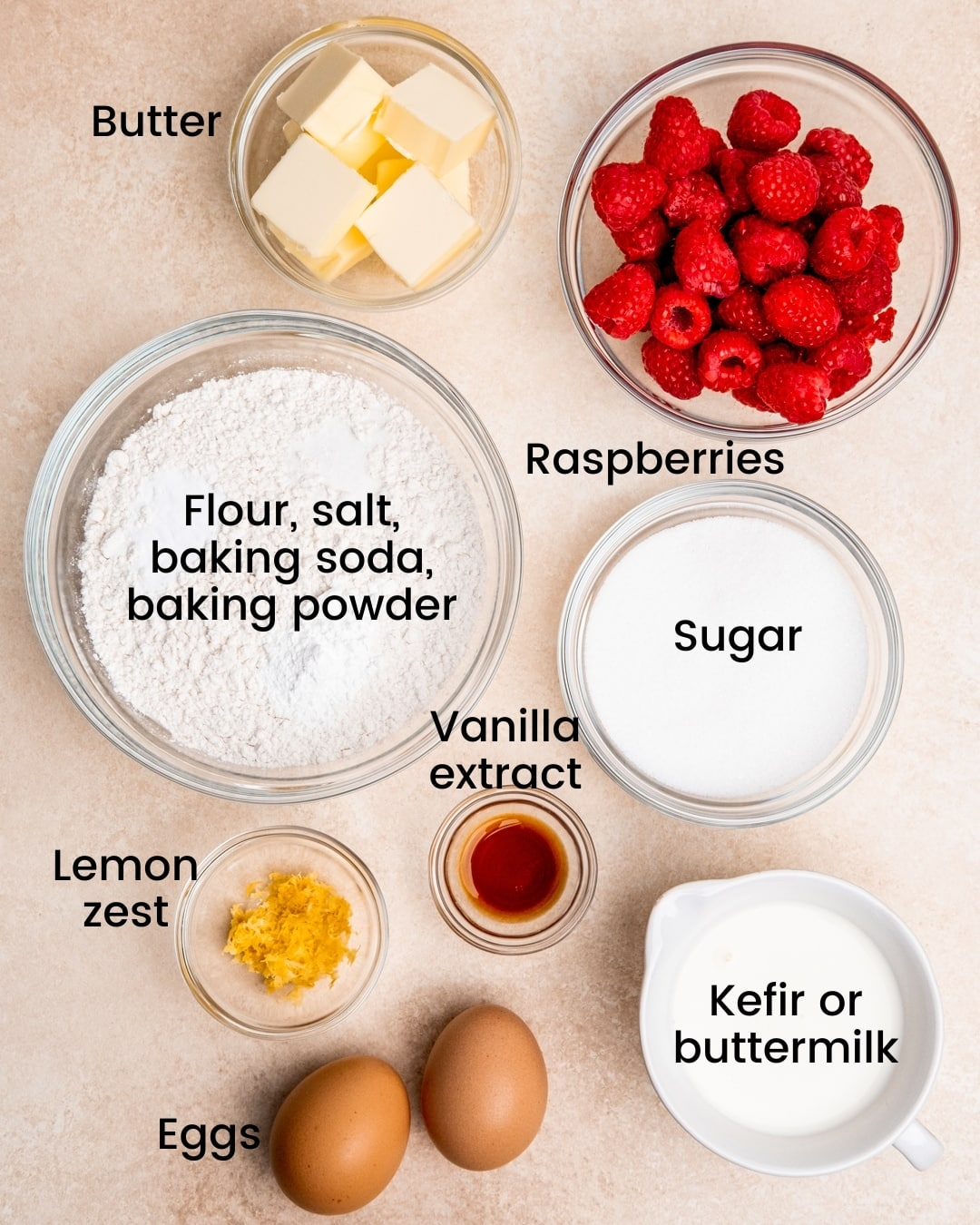 lemon raspberry muffin ingredients laid out and labeled