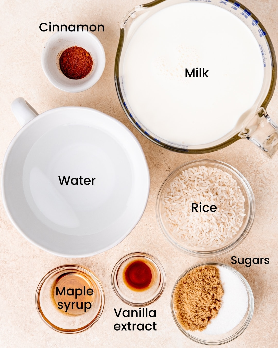 maple cinnamon rice pudding ingredients labeled