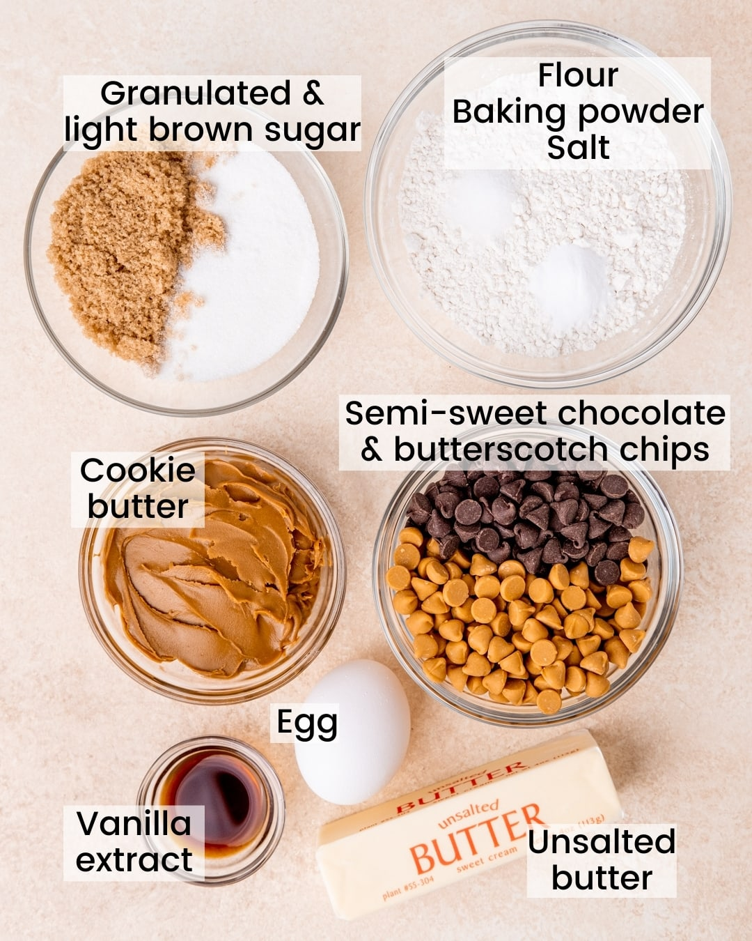 chocolate chip butterscotch blondies ingredients labeled