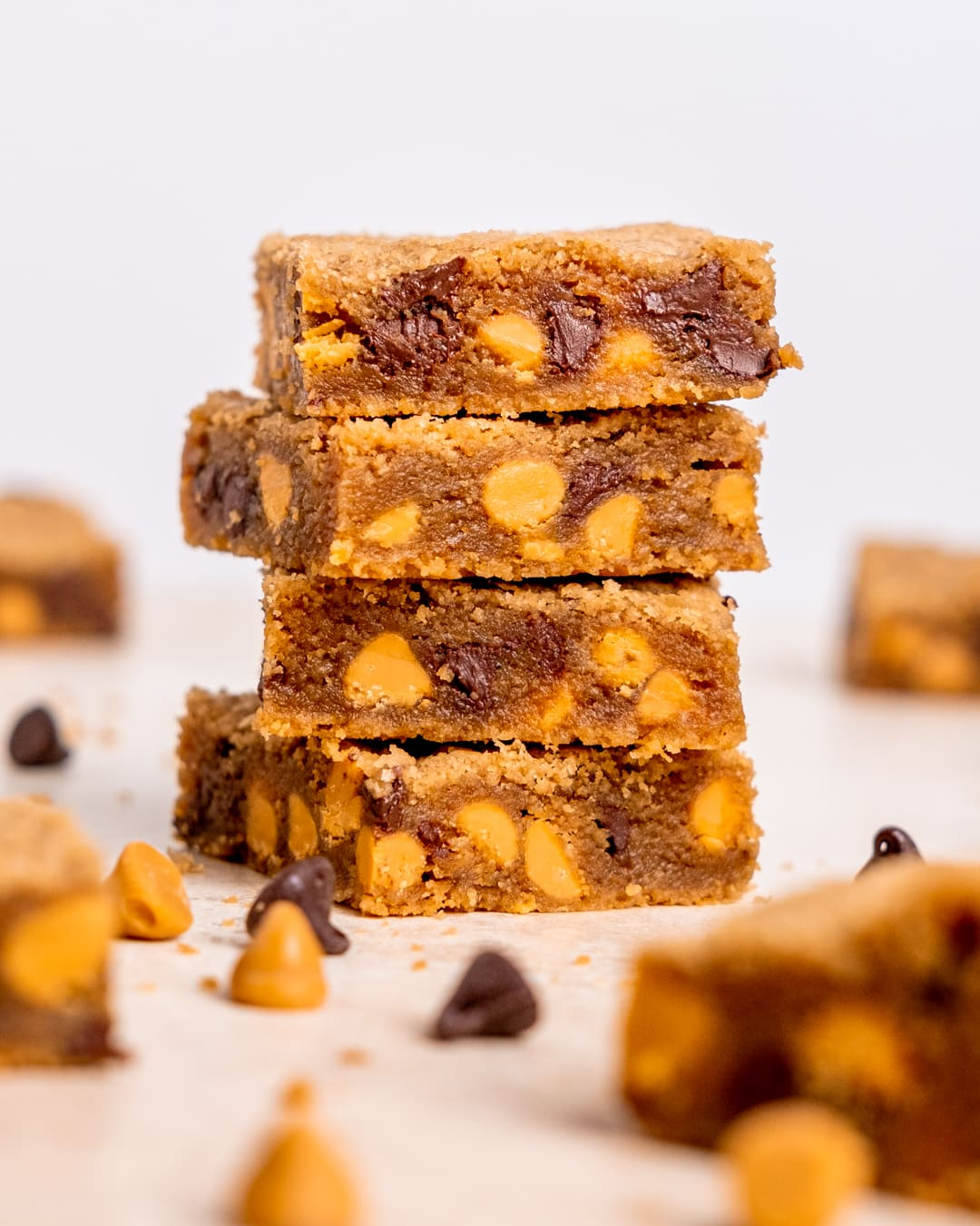 a stack of chocolate chip butterscotch blondies