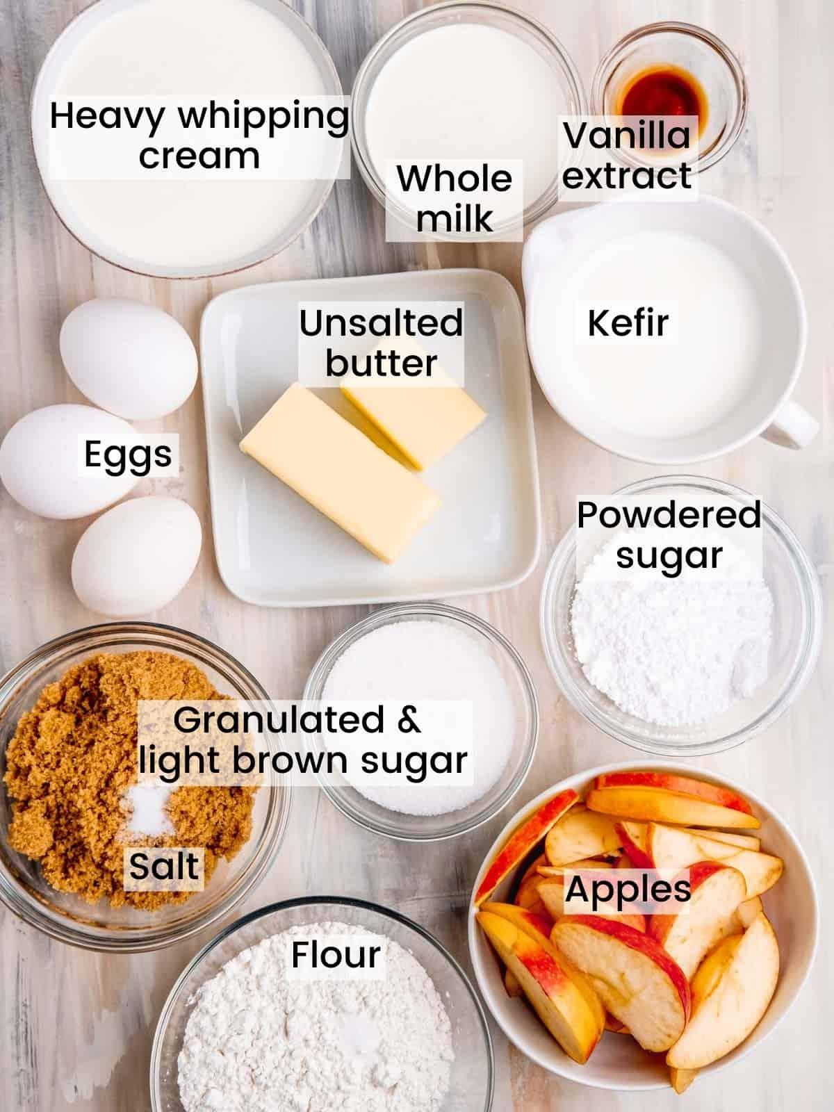 caramel apple crepe cake ingredients labeled