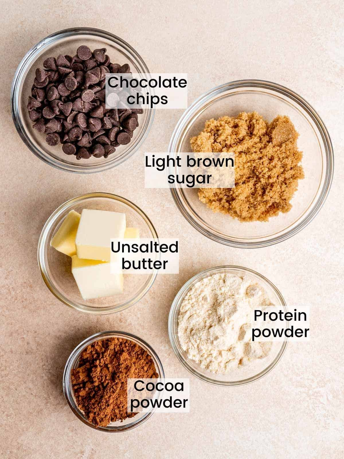 brownie batter ingredients: chocolate chips, light brown sugar, unsalted butter, protein powder, cocoa powder