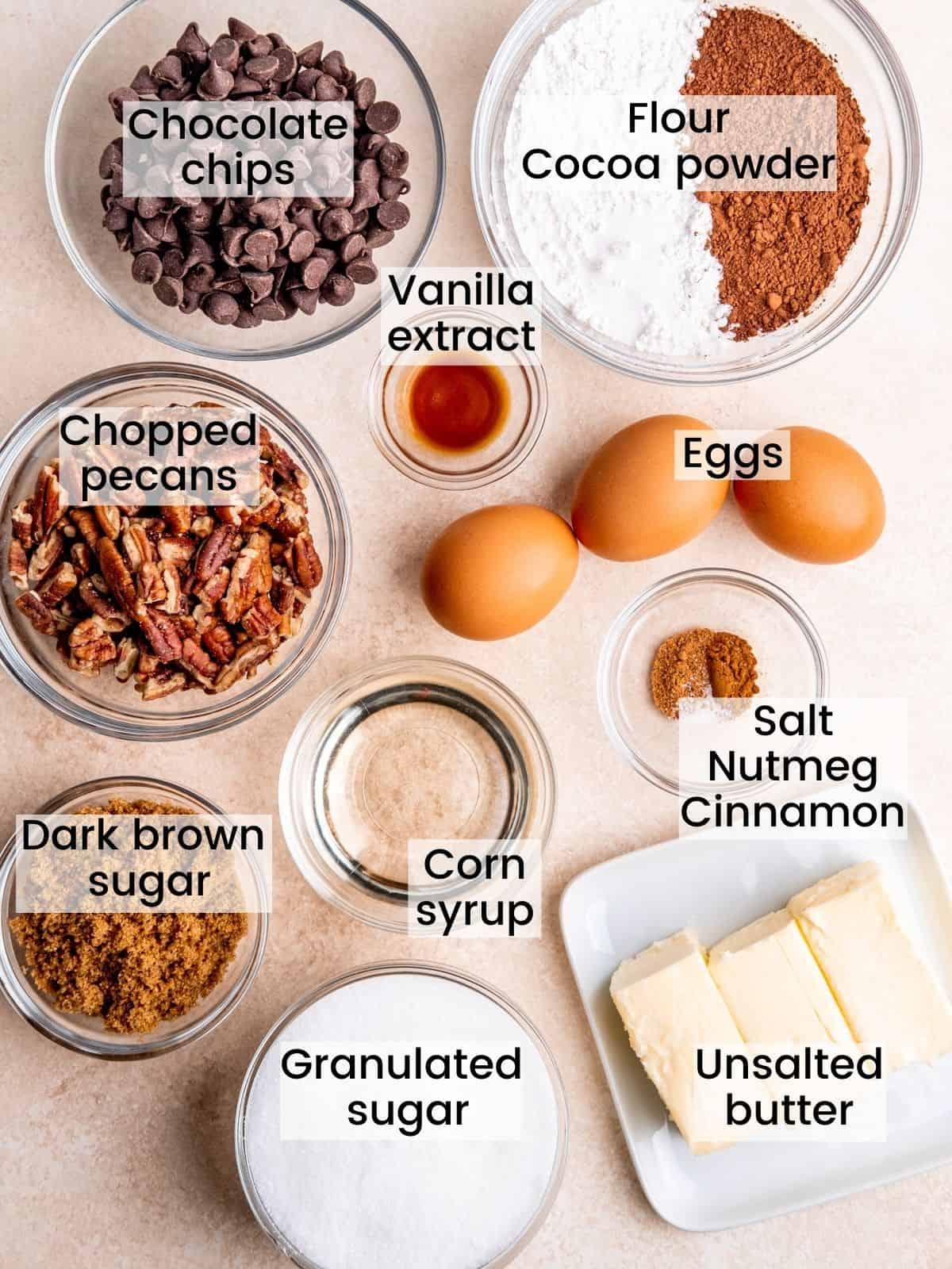 pecan brownie pie ingredients labeled