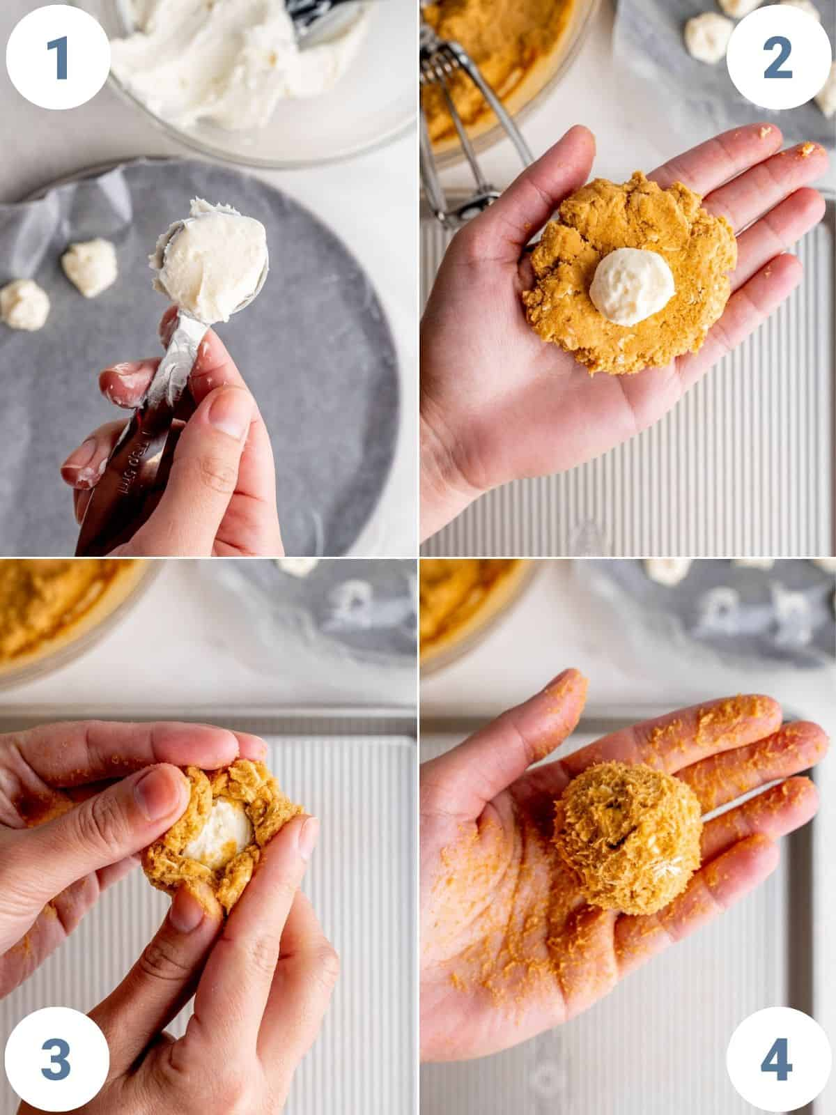 step by step instructions showing how to fill the pumpkin cookie dough with the cheesecake balls