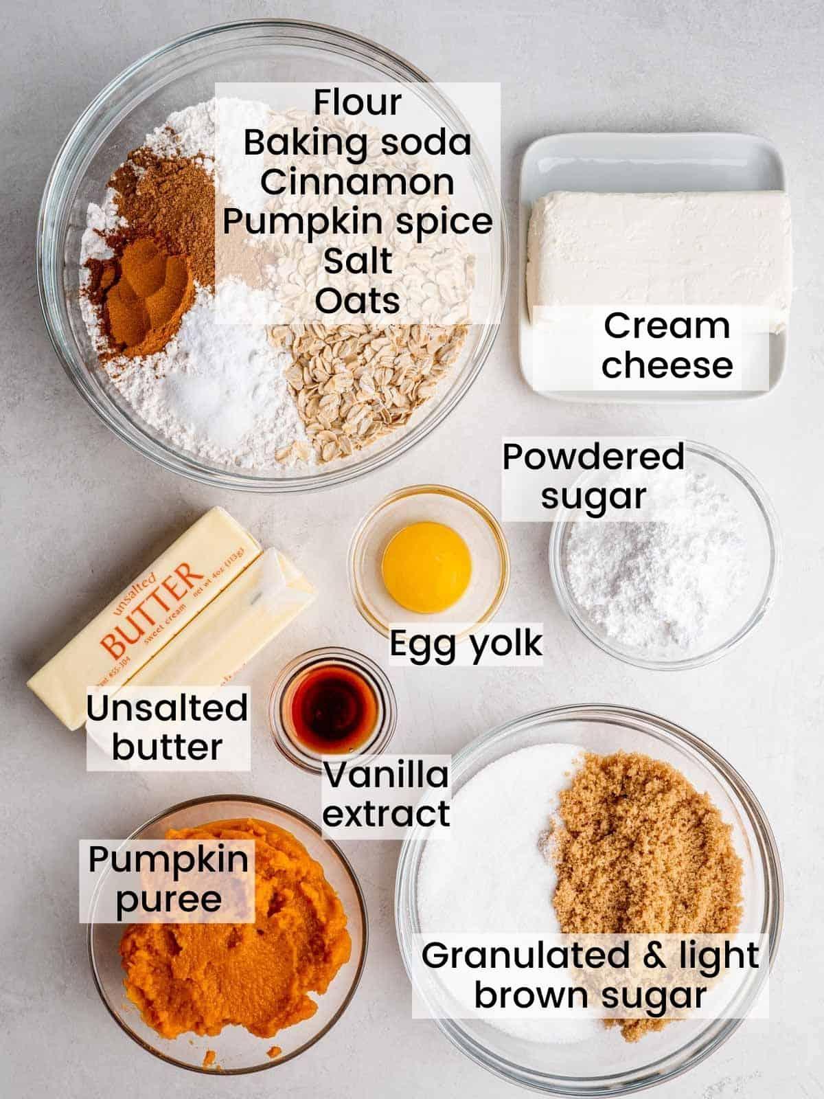 oatmeal pumpkin cheesecake cookies ingredients labeled